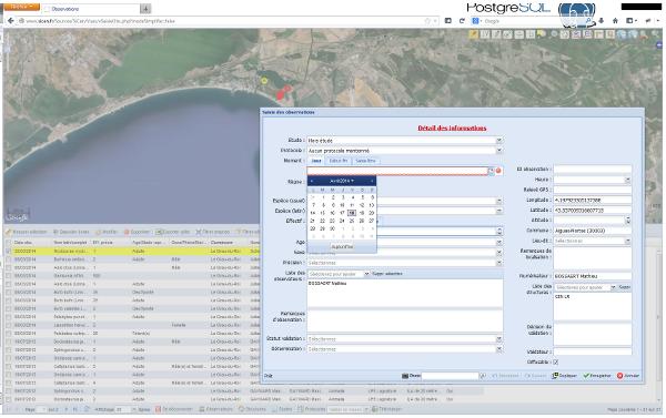 SiCEn, l'interface web cartographique de saisie des données des salariés et sympathisants du CEN L-R